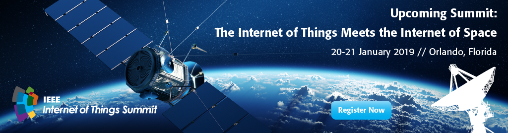 The Internet of Things Meets the Internet of Space Summit 2019 banner