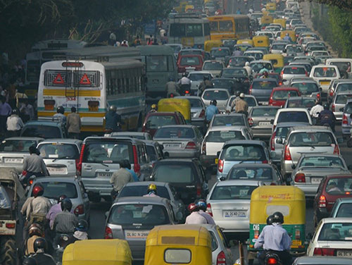 Figure 3: Uncontrolled traffic - one going problem of densely populated countries (Image courtesy: Wikicommons).