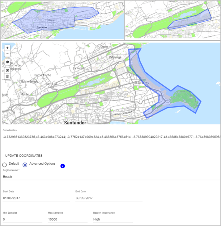 Figure 2: Screenshot from Organicity's Experimentation Management tool, designating active experimentation areas and other options.