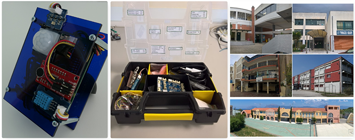 Figure 1: Examples of the IoT hardware used in the project: a) the IoT node used inside classrooms, b) IoT hardware used for educational lab activities, c) the exterior of some GAIA-enabled schools in Greece.
