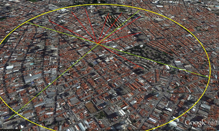 Figure 1: Google Earth 3D view of a district of Sao Paulo / Brazil (Credits: Wardston Consulting, Map data: Google, DigitalGlobe).